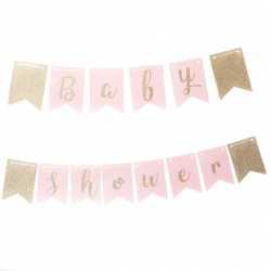 Banderole Baby Shower Rose Glitter Doré - Décoration