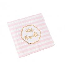 Serviettes en Papier - Petite Merveille Rose et Doré à Rayures