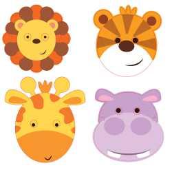 8 Masques Animaux Jungle Lion Tigre Girafe Safari Anniversaire