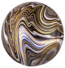 Ballon Miroir Marbré Noir et Doré Fête - Ballon Orb