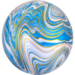 Ballon Miroir Marbré Bleu Blanc Doré Fête - Ballon Orb