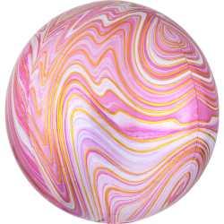 Ballon Miroir Marbré Rose et Doré Fête - Ballon Orb