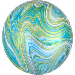 Ballon Miroir Marbré Vert Bleu et Doré Fête - Ballon Orb