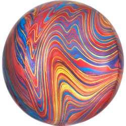 Ballon Miroir Marbré Rouge Bleu Doré Fête - Ballon Orb