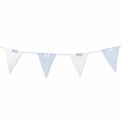 Banderole Tissus à Fanions et Noeuds Bleu Clair Blanc à Rayures Fines