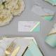 10 Marque-place Table - Effet Marbre Mint et doré