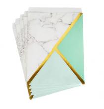 25 Sachets Cadeaux en Papier Candy Bar- Effet Marbre Mint et doré