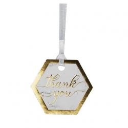 Etiquettes à suspendre Thank You - Effet Marbre Noir et Blanc et doré