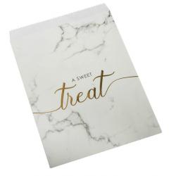 25 Sachets Cadeaux en Papier Candy Bar- Effet Marbre Noir Blanc et doré