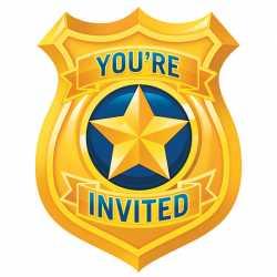 8 Invitations Fête - Anniversaire Thème Police