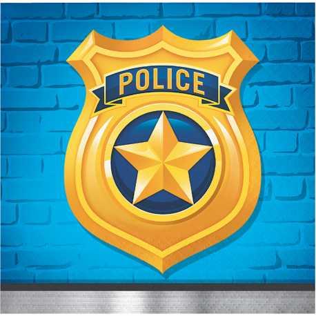 Serviettes Cocktail en papier - Anniversaire Thème Police