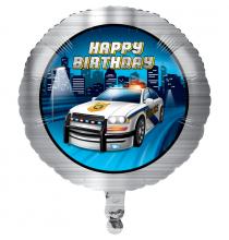 Ballon Alu Rond - Anniversaire Thème Voiture de Police