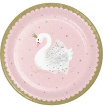 Grandes Assiettes Cygne Rose Poudré Blanc et Doré - Swan Anniversaire