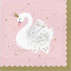 Grandes Serviettes en Papier Cygne Rose Poudré Blanc et Doré - Swan Anniversaire