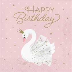 Grandes Serviettes Anniversaire  Cygne Rose Poudré Blanc et Doré - Swan Birthday Party