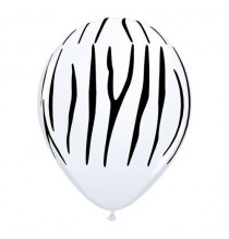 5 mini ballons latex motif zèbre - décoration jungle