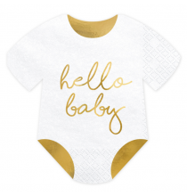 Serviettes Body Hello Baby Blanc et Doré Brillant - Décorations de table