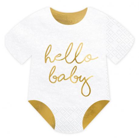 Serviettes Body Hello Baby Blanc et Doré Brillant - Décorations de table
