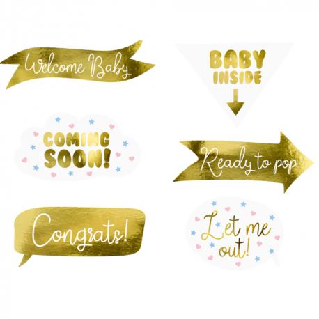 Kit Photobooth Baby Shower Gender Reveal - 6 panneaux accessoires Photobooth - Fille ou Garçon
