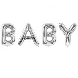 """Ballons XXL """"Baby"""" Lettres - Argent Décoration de fête"""