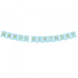 Banderole à Fanions Happy Birthday Drapeaux Bleu et Doré