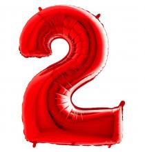 Ballon Alu Rouge Chiffre 2 Ans Fête d'Anniversaire enfant