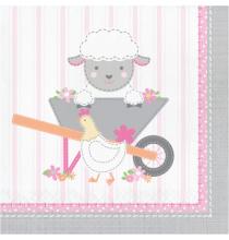 Grandes Serviettes en Papier Anniversaire Bébé Fille Mouton