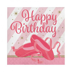 Serviettes en papier Happy Birthday Anniversaire Ballerine Tutu Rose