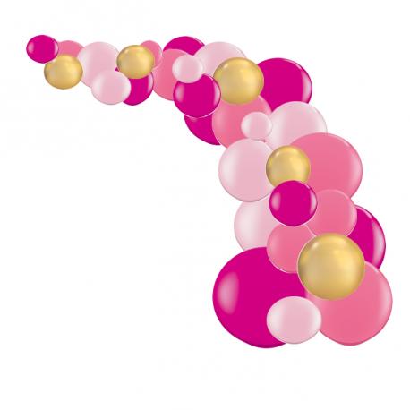 Arche de Ballons Organiques Rose Framboise et Doré Chromé