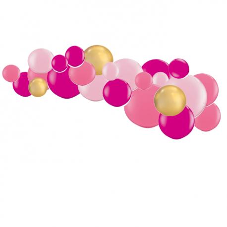 Guirlande de Ballons Organiques Rose Framboise et Doré Chromé