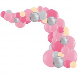 Arche de Ballons Organiques Rose Pêche et Gris