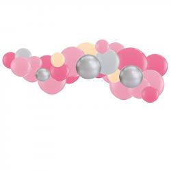 Guirlande de Ballons Organiques Rose Pêche et Gris