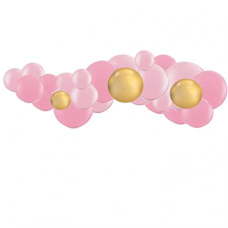 Kit Guirlande de Ballons Organiques Rose et Doré Chromé