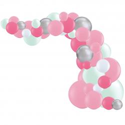Arche de Ballons Organiques Rose Mint et Argent