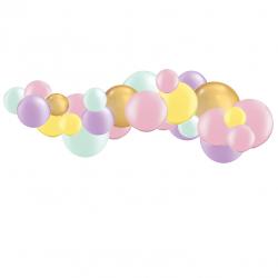 Kit Guirlande de Ballons Organiques Pastel et Doré Chromé
