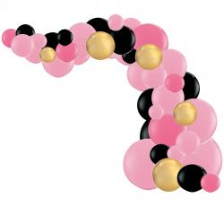 Kit Arche de Ballons Organiques - Modèle Minnie Rose Noir Doré