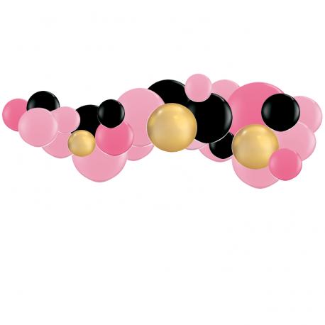 Kit Guirlande de Ballons Organiques - Modèle Minnie Rose Noir Doré