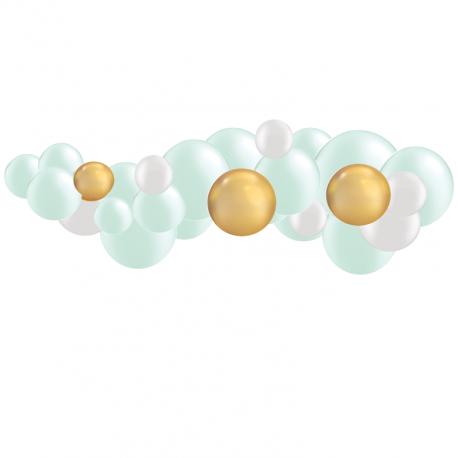 Kit Guirlande de Ballons Organiques - Modèle Mint et Doré Chromé