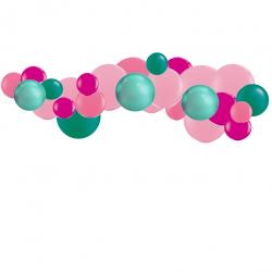 Kit Guirlande de Ballons Organiques - Modèle Tropical Flamant Rose