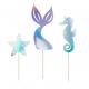 Piques pour Gâteau Anniversaire Sirène Holographiques - Anniversaire pour enfants