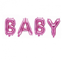 Ballons Lettres BABY rose - Décoration Baby Shower Fille