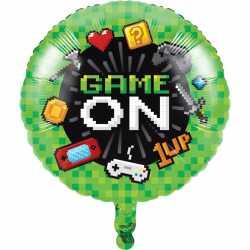 Ballon Alu Rond Game On - Décoration Anniversaire Thème Jeux Vidéo Consoles