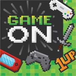 Serviettes en Papier Game On - Décoration Anniversaire Thème Jeux Vidéo Consoles