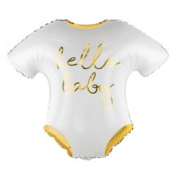 Ballon Alu Body Hello Baby Blanc et Doré Brillant - Décorations Baby Shower