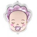 Grand ballon bébé fille avec tétine rose - Décoration baby shower