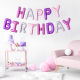 Ballons Lettres Happy Birthday Rose Parme Blanc