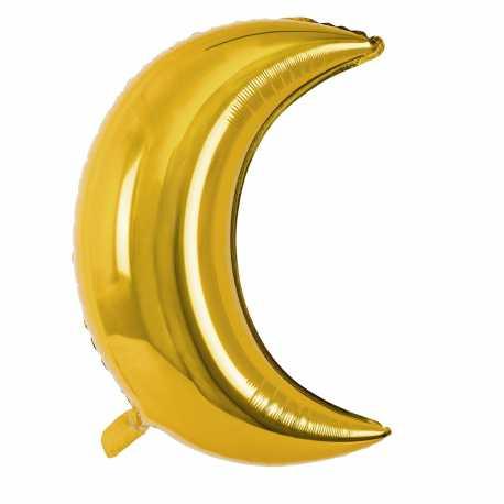 Grand Ballon Alu Croissant de Lune Doré - Décoration