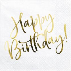 """Serviettes """"Happy Birthday"""" Doré Métallisé Fête d'Anniversaire enfant"""