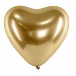 Ballon Chromé Coeur Doré à l'unité - Latex Fête