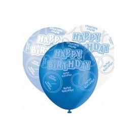 6 Ballons latex bleu assortis Anniversaire
